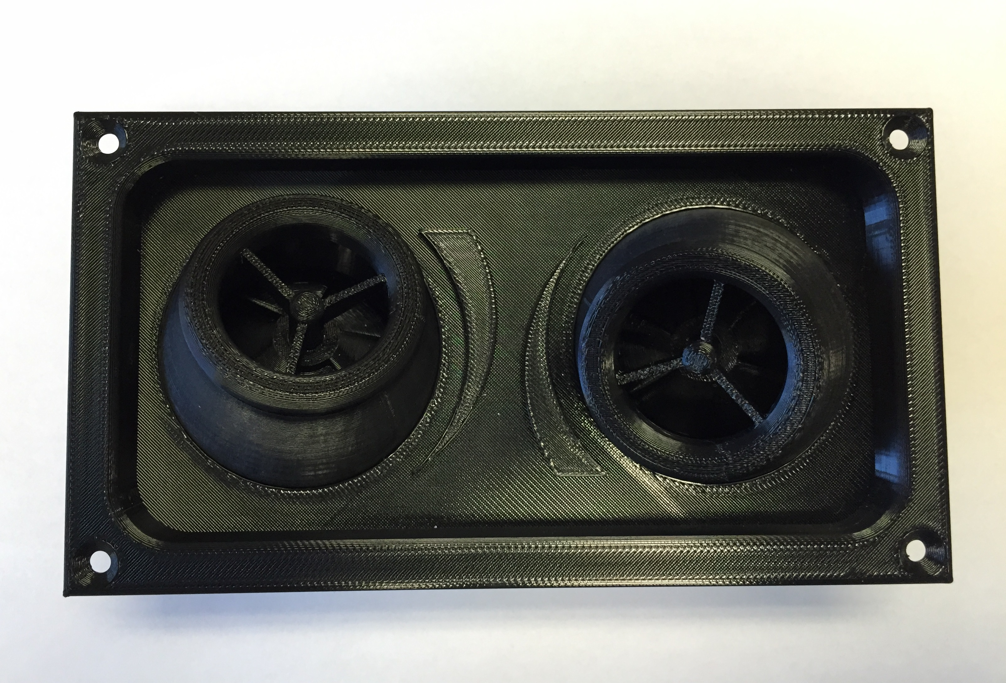 3D printed air vent for LRT transportation. Made out of ULTEM 9085.